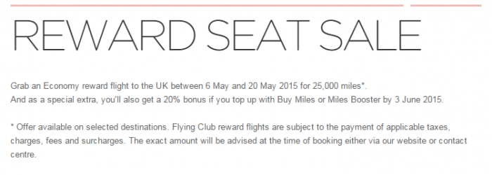Virgin Atlantic Flying Club Buy Miles Spring 2015 Spend Miles Promo