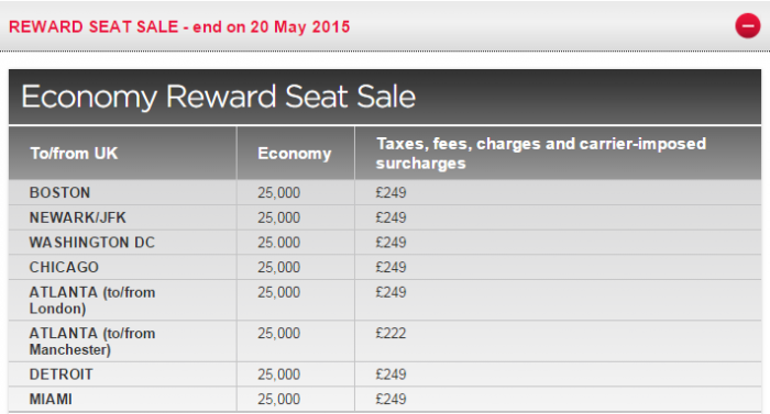 Virgin Atlantic Flying Club Buy Miles Spring 2015 Spend Miles Promo Routes