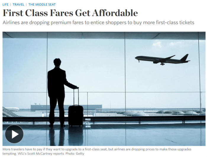 WSJ First Class Fares Get Affordable