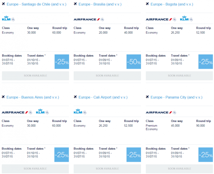 Air France-KLM Flying Blue July 2015 Promo Awards Central & South America 1