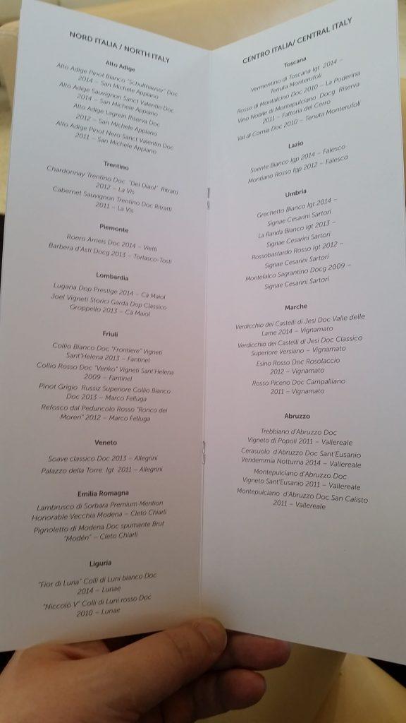 Alitalia Etihad Expo Milano 2015 Premium Lounge Wine List 2