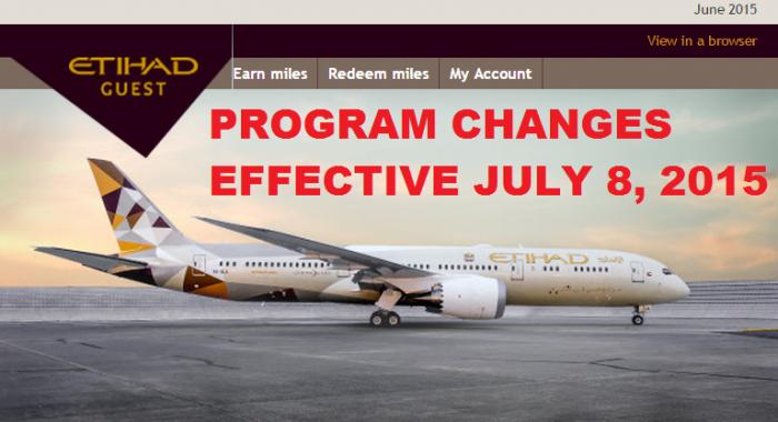 Etihad AIrways Etihad Guest Program Changes July 8 2015