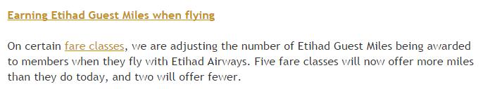 Etihad AIrways Etihad Guest Program Changes July 8 2015 Earning Miles Text
