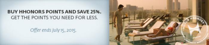 Hilton HHonors Buy Points 25 Percent Discount Until June 15 2015