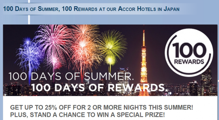 Le Club Accorhotels Japan 100 Days Of Summer Deal