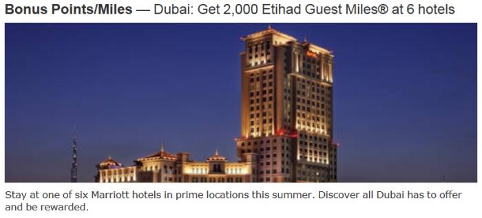 Marriott Rewards Etihad Guest Dubai 2,000 Bonus Miles Per Stay June 1 August 17 2015