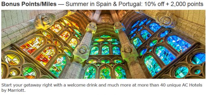 Marritot Rewards Spain & Portugal 10 Percent Off + 2,000 Bonus Points June 1 August 24 2015