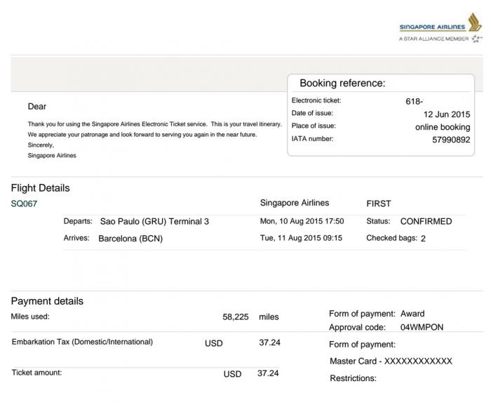 Singapore Airlines Award Ticket Success GRU-BCN Eticket U