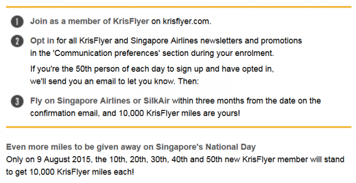 Singapore Airlines KrisFlyer 10,000 Bonus Miles 50th Anniversary Body Text