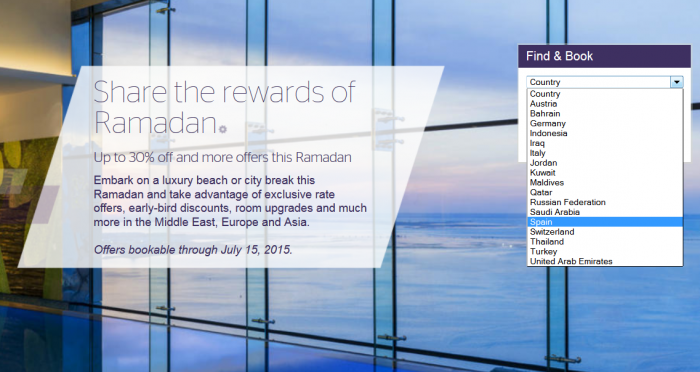 Starwood Preferred Guest SPG Ramadan Sale June 18 July 15 2015