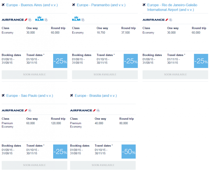Air France-KLM Flying Blue Promo Awards August 2015 Central & South America 1