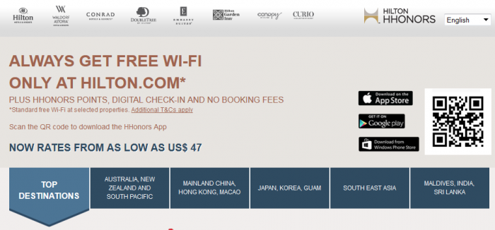 Hilton HHonors Asia Pacific Website