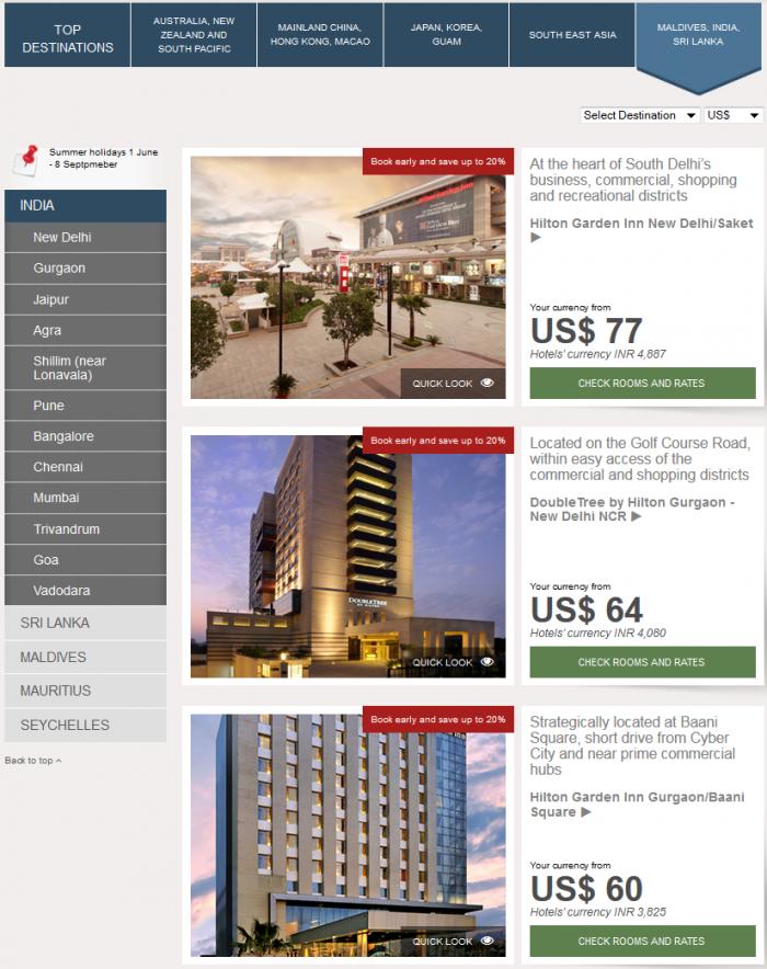 Hilton HHonors Asia Pacific Website Maldives India Sri Lanka
