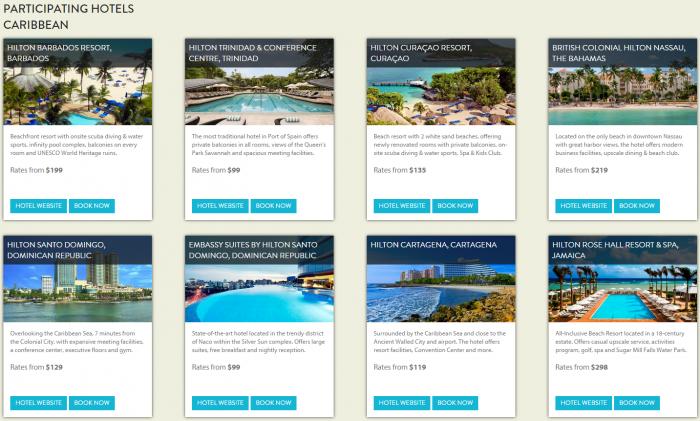 Hilton HHonors Caribbean Summer Sale Participating Hotels 1