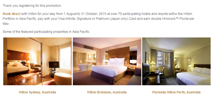 Hilton HHonors Visa Asia-Pacific Double Points 77 Properties August 1 October 31 2015 Registration