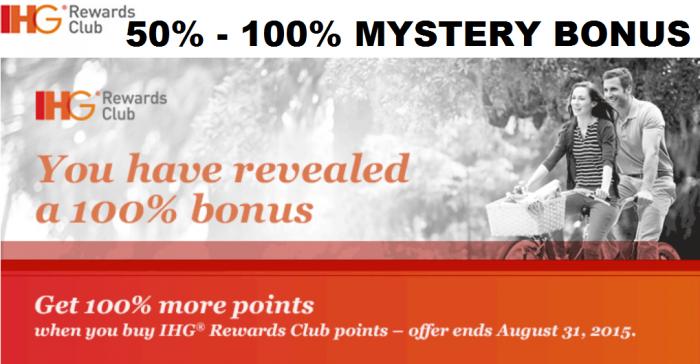 IHG Rewards Club Buy Points 50 To 100 Percent Mystery Bonus July 28 - August 31 2015