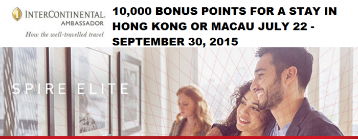 IHG Rewards Club Hong Kong 10,000 Bonus Points For A Stay July 22 - September 20 2015