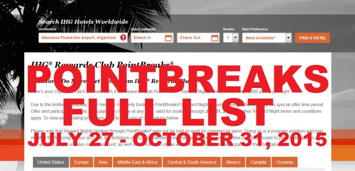 IHG Rewards Club PointBreaks July 27 - October 31 2015