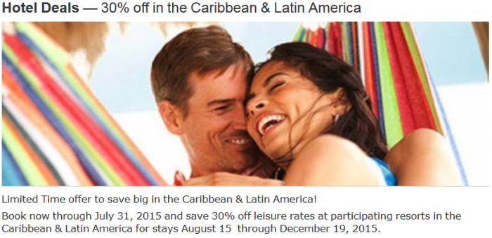 Marriott Rewards 30 Percent Caribbean Latin America For Stays August 15 December 19 2015
