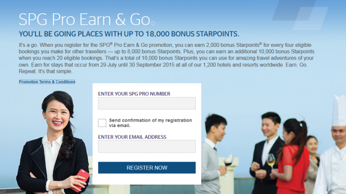 SPG Pro Earn & Go Promotion July 29 - September 30 2015