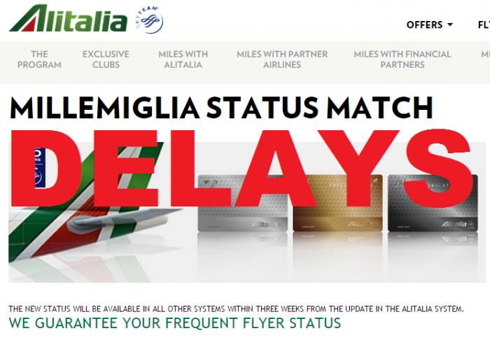 UPDATE Alitalia MilleMiglia Status Match