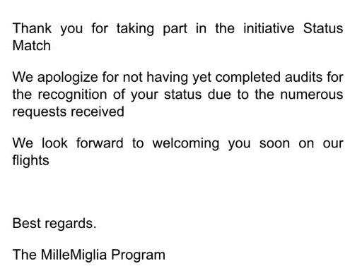 UPDATE Alitalia MilleMiglia Status Match Reply