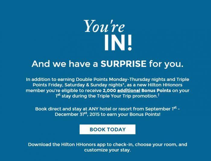 Hilton HHonors Double & Triple Points September 1 December 31 2015 2,000 Bonus Points
