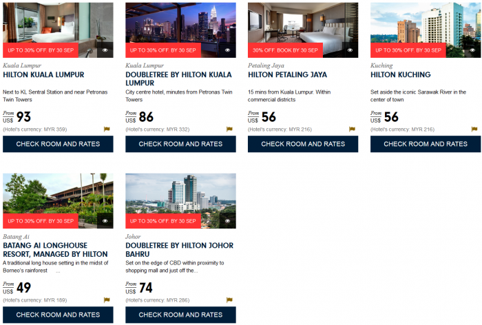 Hilton HHonors South East Asia Up To 30 Percent Off Sale August 1 - September 30 2015 Malaysia