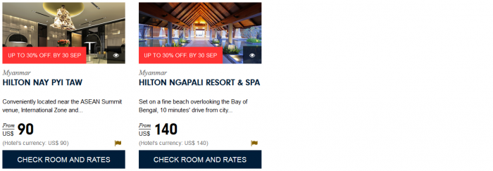 Hilton HHonors South East Asia Up To 30 Percent Off Sale August 1 - September 30 2015 Myanmar