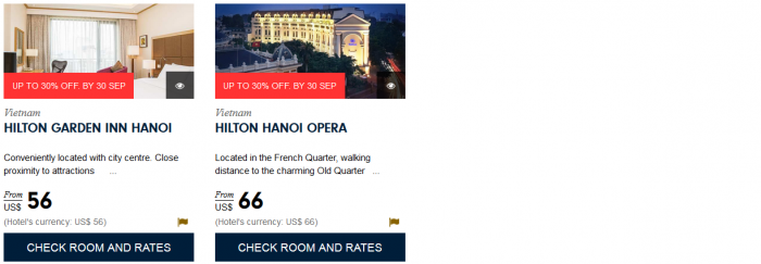 Hilton HHonors South East Asia Up To 30 Percent Off Sale August 1 - September 30 2015 Vietnam