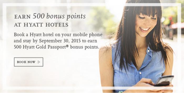 Hyatt Gold Passport 500 Bonus Points App Bookings August 1 September 30 2015