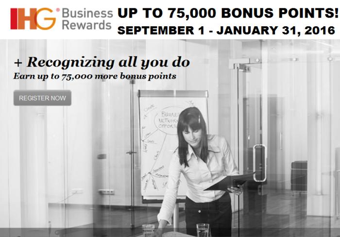 IHG Business Rewards Up To 75,000 Bonus Points September 1 January 31 2016