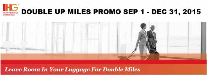 IHG Rewards Club Double Up Promotion September 1 December 31 2015