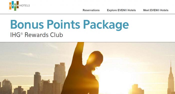 IHG Rewards Club EVEN Hotels Up To 10,000 Bonus Points Package