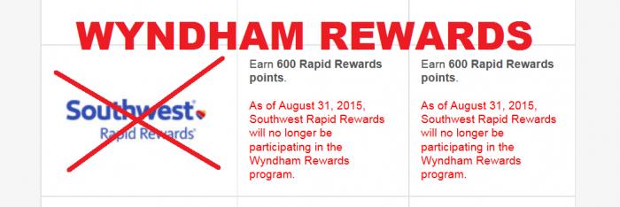 Wyndham Rewards Southwest Airlines Rapid Rewards Partnership Ending