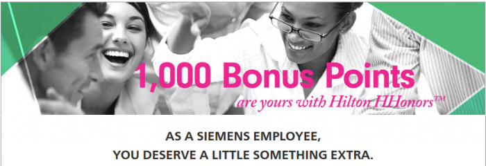 Hilton HHonors Siemens 1,000 Bonus Points Per Night September 1 December 31 2015
