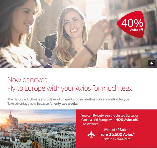Iberia Plus 40 Percent Off Award Discount October 1 March 31 2016