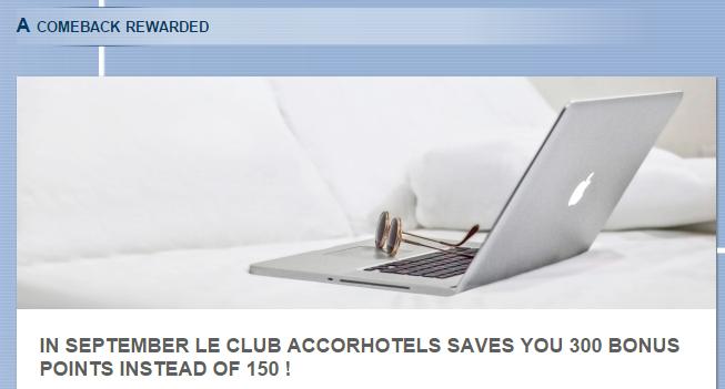 Le Club Accorhotels France 300 Bonus Points September 30 2015