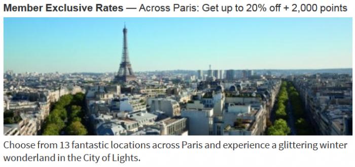 Marriott Rewards Paris Offer October 16 January 7 2016