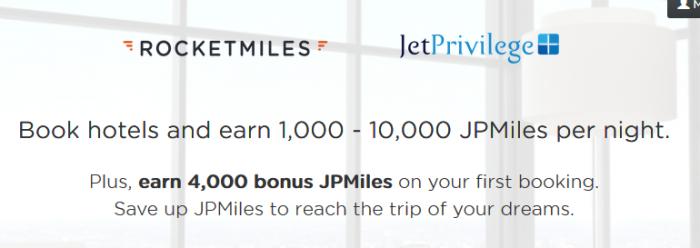 Rocketmiles JetAirways 4,000 Bonus JetPrivilege Miles For First Booking By September 30 2015