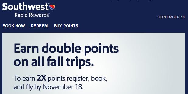Southwest Rapid Rewards Double Points September 14 November 18 2015