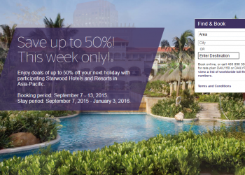 Starwood Greater China Up To 50 Percent Off Sale September 7 - 13 2015