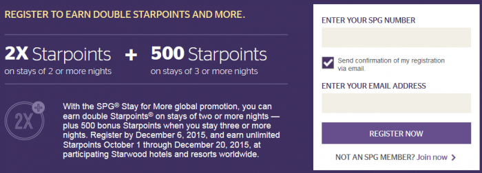 Starwood Preferred Guest SPG Stay For More October 1 December 20 2015 Table