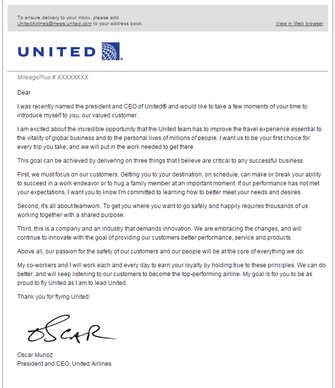Email From New United Airlines CEO Oscar Munoz