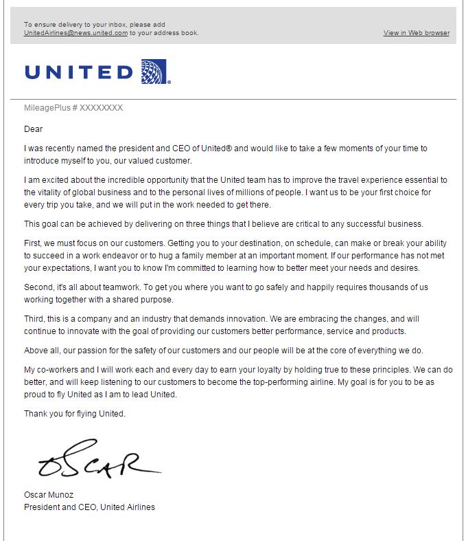 United Airlines MileagePlus Oscar Munoz Email