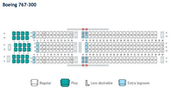 WestJet Seatmap 767