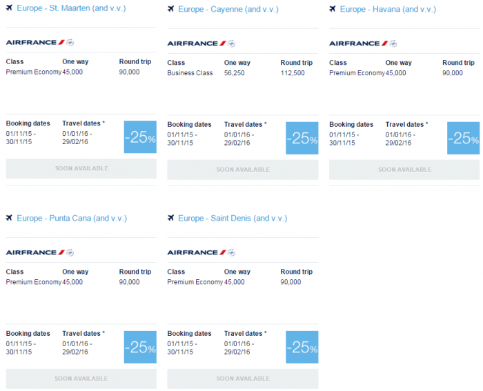 Air France-KLM Flying Blue Promo Awards November 2015 Caribbean & Indian Ocean 1