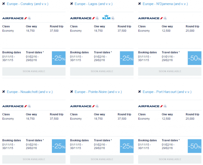 Air France-KLM Flying Blue Promo Awards November 2015 North Africa 1