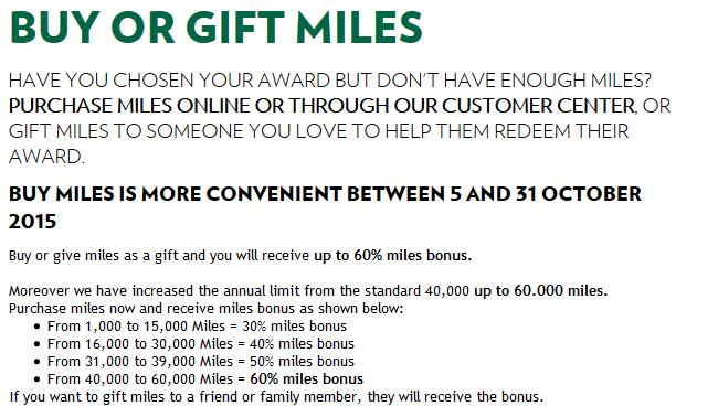 Alitalia MilleMiglia Buy & Gift Miles October 2015 Bonus
