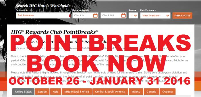 Book Now IHG Rewards Club PointBreaks October 26 - January 31 2016